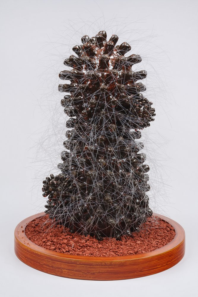Cactus 14 (vista 1). 38 cm x 30 cm 30 x cm. Cerámica ase de madera, ceniza volcánica teñida con oxidos de hierro y de manganeso.