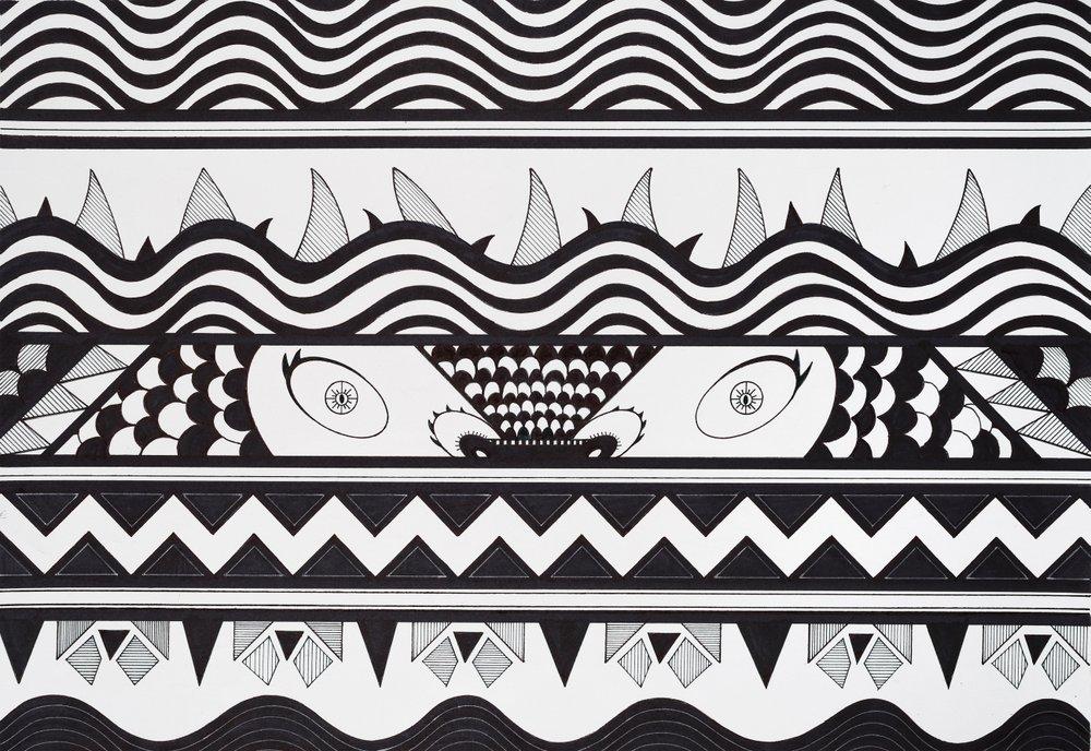 Yacaré. Tinta y marcador sobre papel. 37,5 x 45 cm. 2015
