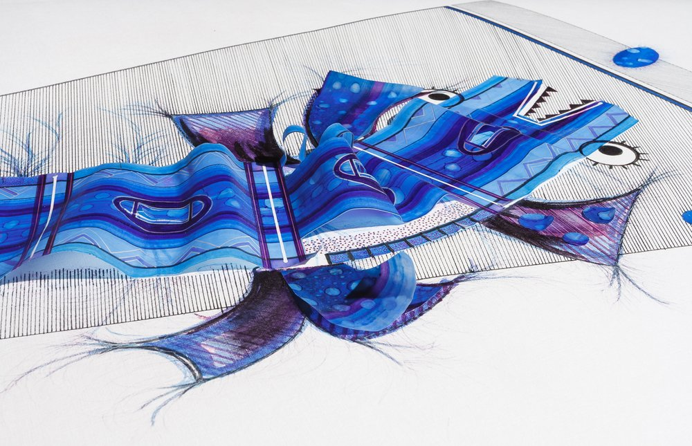 Detalle.Tinta, marcador , corrector y papel vegetal sobre papel. 83 cm. x 120 cm. 2015