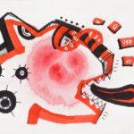 S/T 8cm x 11 cm. Tinta, marcadores y corrector